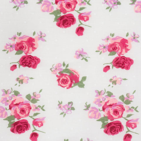 Ivory with Red Roses - Hot Pink Haberdashery