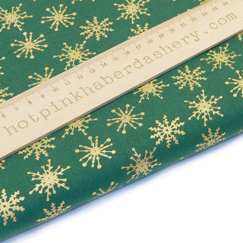 Christmas Gold Snowflakes - 100% Cotton Fabric by John Louden