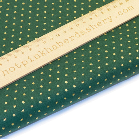 Christmas Gold Stars in rows - 100% Cotton Fabric by John Louden