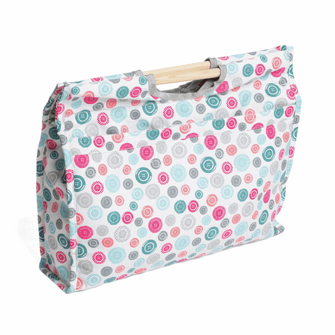 Wooden Handles Craft Bag - Scattered Buttons