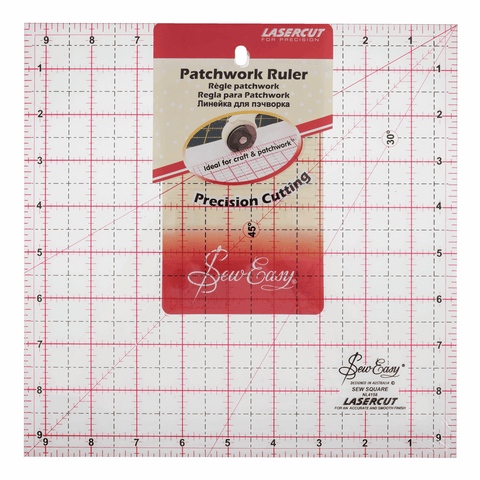 Sew Easy Square Template Ruler - 9.5 x 9.5in