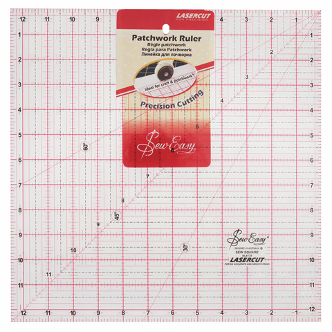 Sew Easy Square Quilting Template Ruler - 12.5 x 12.5in