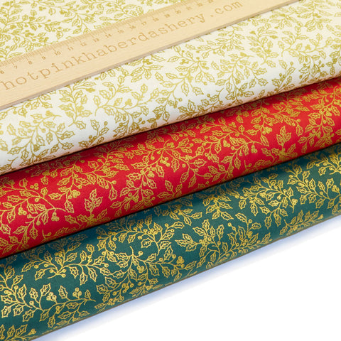 Christmas Gold Holly - 100% Cotton Fabric by Rose & Hubble