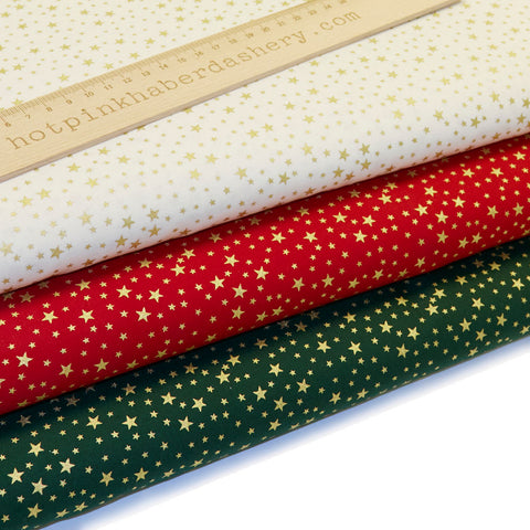Christmas Gold Stars - 100% Cotton Fabric by Rose & Hubble