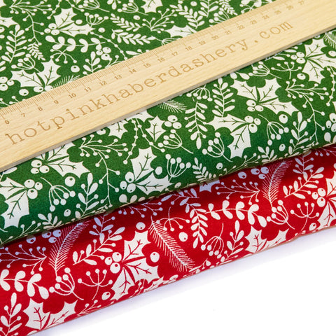 Christmas Holly & Berries - 100% Cotton Fabric by Rose & Hubble