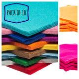 "Pack of 10 Acrylic felt 9"" squares available in 48 colours"