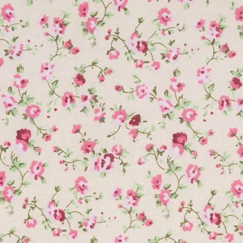 Vintage Floral in Cream & Pink - Hot Pink Haberdashery