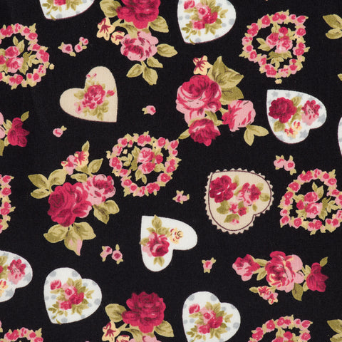 Pick N Mix: Cotton Vintage Hearts & Roses Black