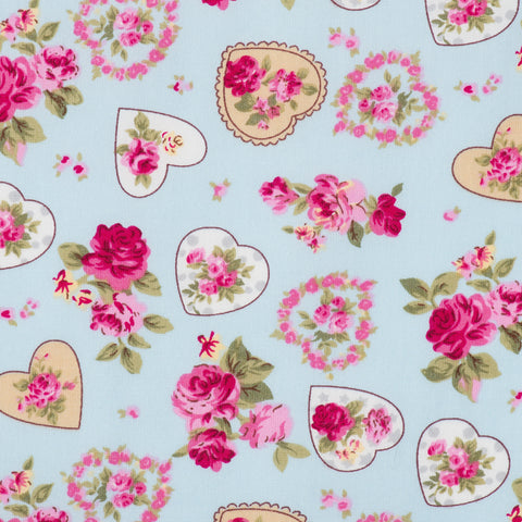 Pick N Mix: Cotton Vintage Hearts & Roses Blue
