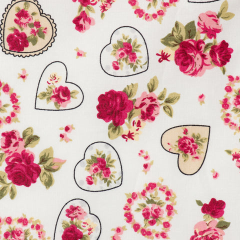 Pick N Mix: Cotton Vintage Hearts & Roses Cream