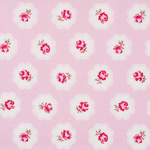 Vintage Roses in Clouds Pink - Hot Pink Haberdashery