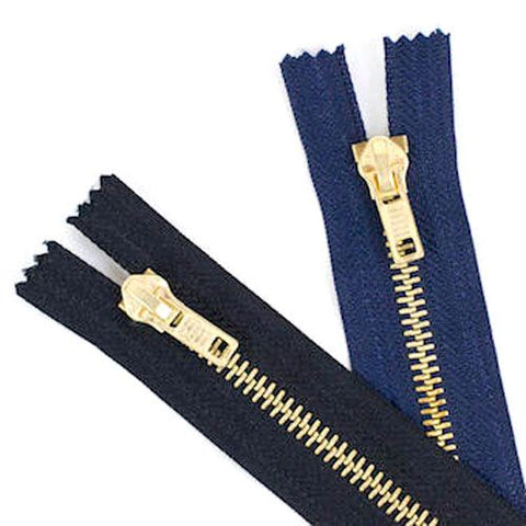 "Brass Metal Jeans Zips 6""-8"" in Navy & Black"