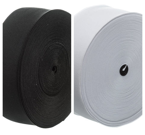 Black or White Flat Elastic By The Metre or Roll Various Sizes