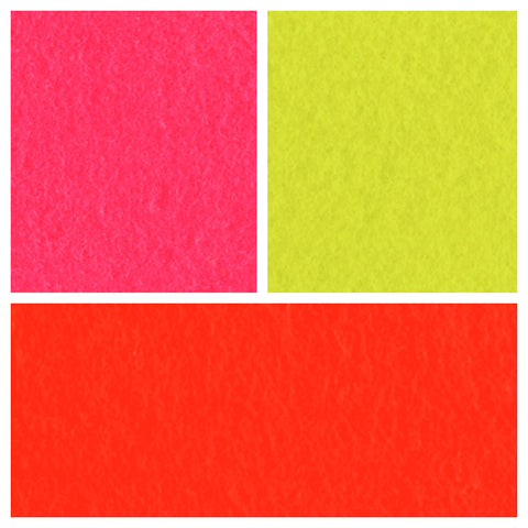 Acrylic Felt Sheets A4  - Fluorescent Pink / Yellow / Orange