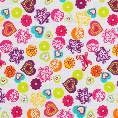 Brights Hearts & Flowers White