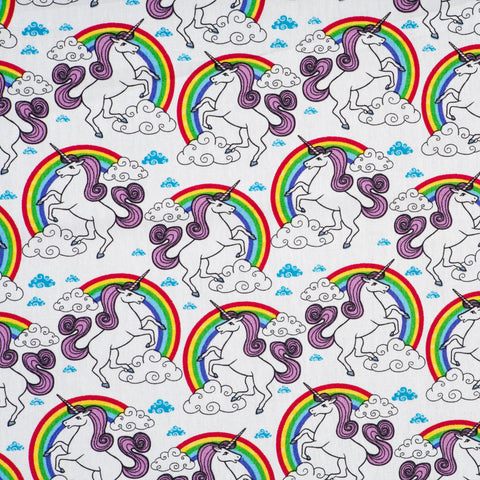 Unicorn and Rainbow Print Ivory