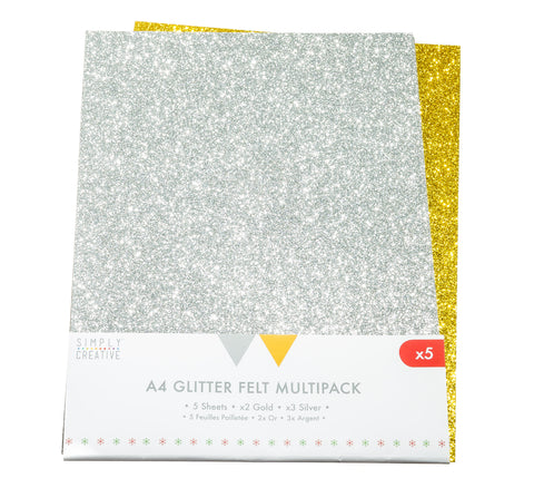 5 Sheets of A4 Glitter Felt - Silver & Gold