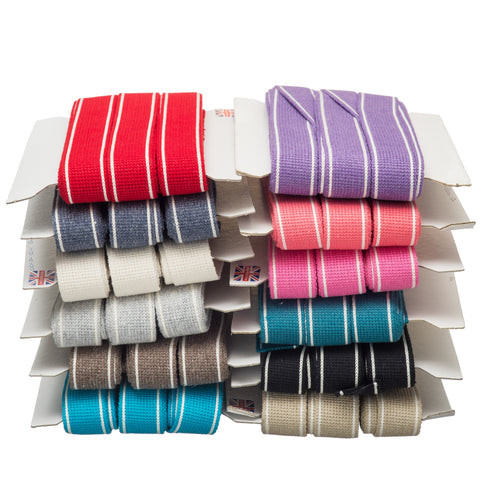 34mm Premium 100% Cotton Soft Touch Stripe Webbing