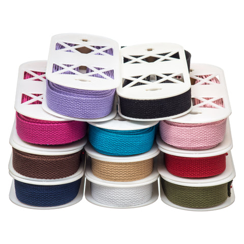 25mm Premium 100% Cotton Soft Touch Webbing in Solid colours
