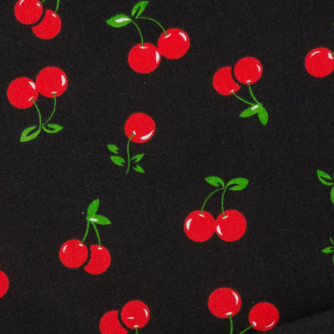 Cute Cherry Polycotton Print Fabric in Black and Red