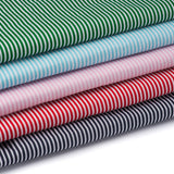 3mm traditional stripe polycotton fabric in green, blue, pink, red and black.