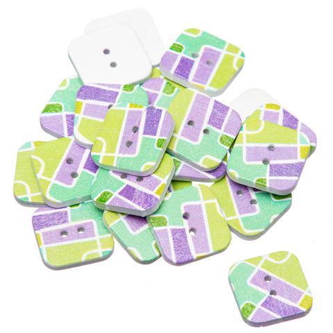 Square 18mm Retro Geometric Green and Purple Painted Wooden Buttons