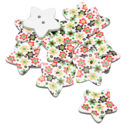 Star Retro Flowers 25mm Painted Wooden Buttons