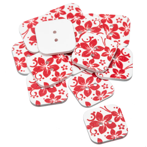 Square Red Flower 25mm Painted Wooden Buttons