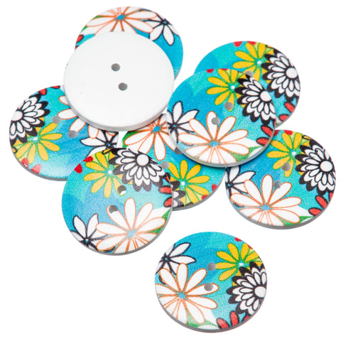 Round 30mm Retro Floral Painted Wooden Buttons