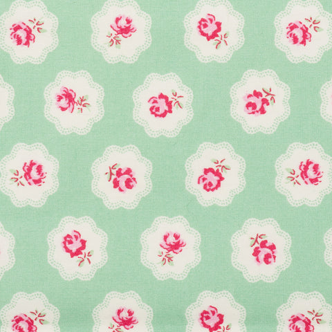 Pick N Mix: Cotton Vintage Roses in Clouds Green - Hot Pink Haberdashery