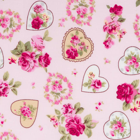 Pick N Mix: Cotton Vintage Hearts & Roses Pink