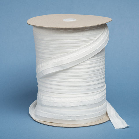 "1""/25mm Curtain Heading Tape in White and Cream. By the meter or 100m roll."