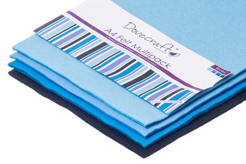 A4 craft felt multipack in blue tones.