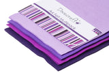 Purple sewing craft and art felt multipack. 4 colours, dark purple to lilac.