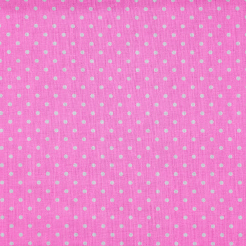 Neon Pink Polka Dot fabric in Polycotton