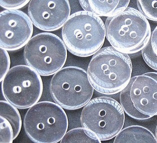 Clear backing buttons in a range of sizes, perfect for all sewing jobs, or for a sewing box staple