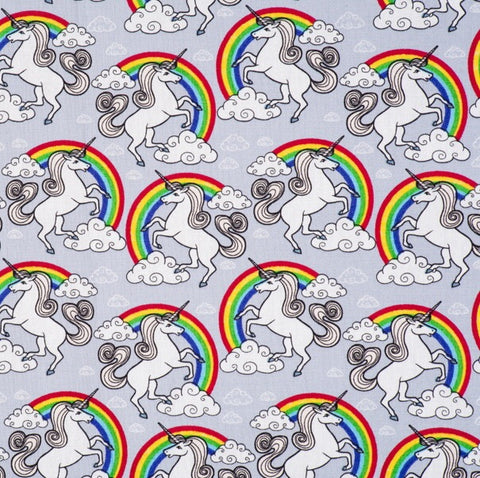 Unicorn and Rainbow Print Silver