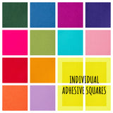 "Sticky back / adhesive 9"" Felt Squares in 48 Colours"