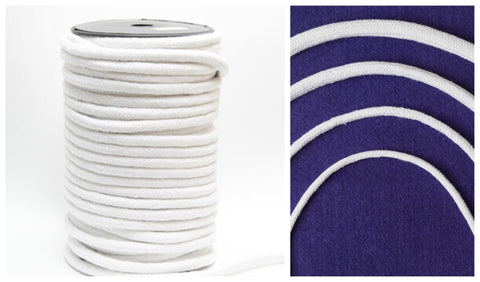 White Piping Cord in 4 widths from 4mm-8mm. Perfect for upholstery and various other crafting projects.