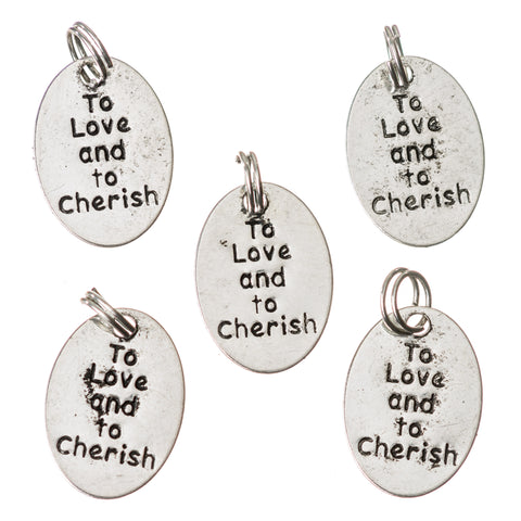 Wedding Favour Charm / Pendant -'To Love and to Cherish'