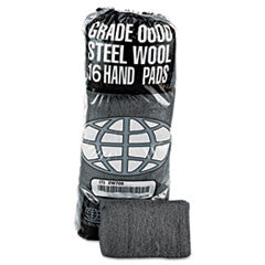 Industrial-Quality Steel Wool Hand Pad, #0000 Super Fine, 16 per Pack