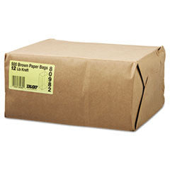 12# Paper Bag, 40-lb Base Weight, Brown Kraft, 7-1/16x4-1/2x13-3/4, 500-Bundle