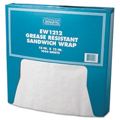 Grease-Resistant Paper Wrap/Liner, 12 x 12, White, 1000/Pack