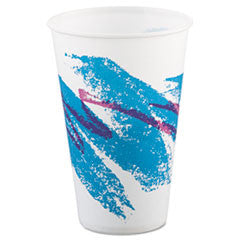 Jazz Waxed Paper Cold Cups, 12 oz, Tide Design