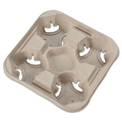 StrongHolder Molded Fiber Cup Tray, 8-32oz, Four Cups