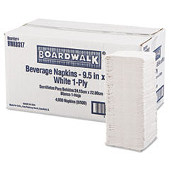 Beverage Napkins, 1-Ply, 9 1/2 x 9, White