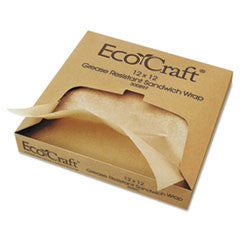 EcoCraft Grease-Resistant Paper Wrap/Liner, 12 x 12, 1000/Box