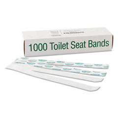 "Sani/Shield Printed Toilet Seat Band, Paper, Blue/White, 16"" Wide x 1-1/2"" Deep"