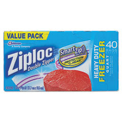 Double Zipper Freezer Bags, 6.97 x 7.7, 1 qt, 2.7 mil, 40/Box