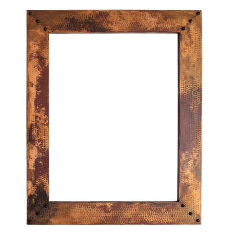 Hammered copper vanity mirror - Natural with spots